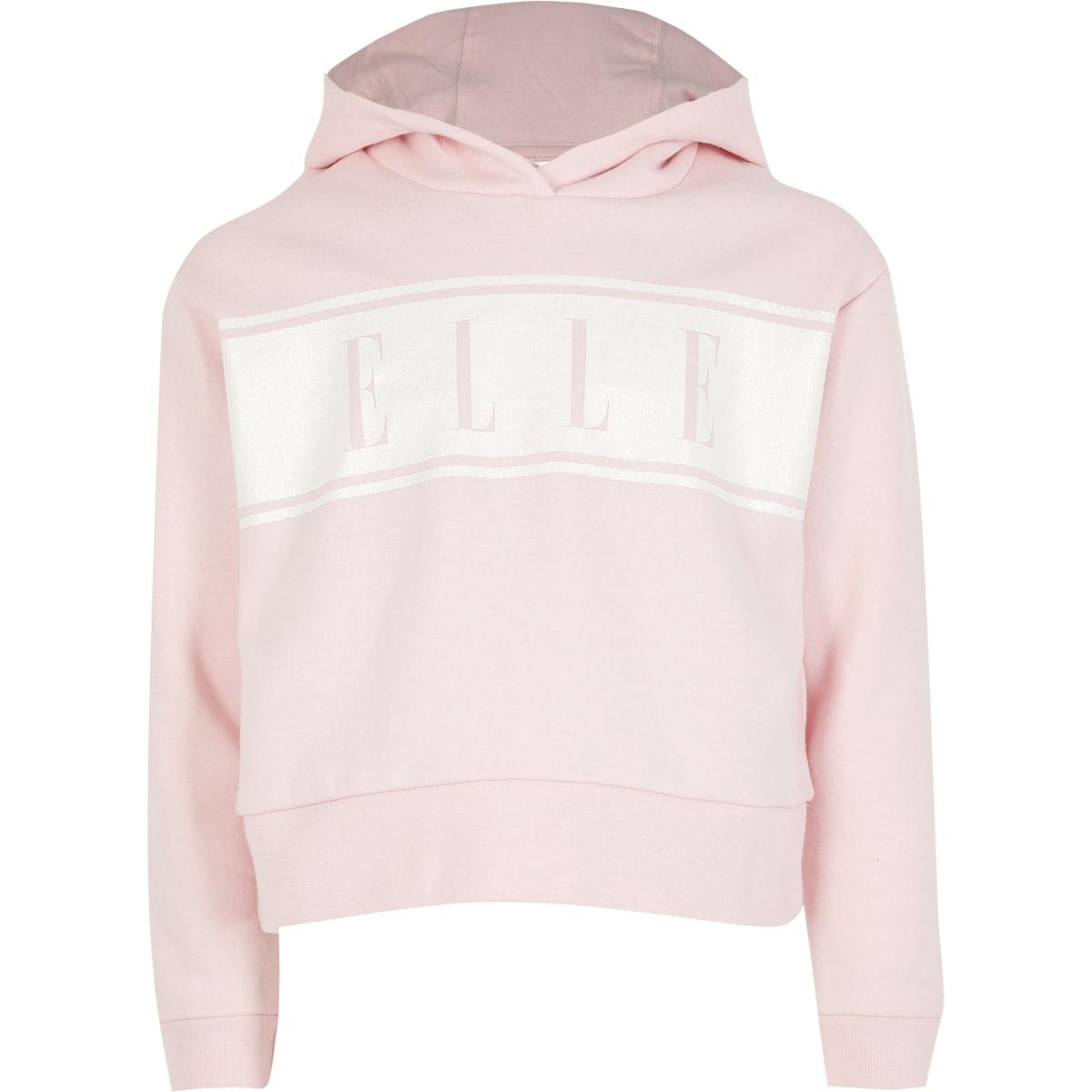 ELLE - Roze hoodie met glitter hoodie voor meisjes