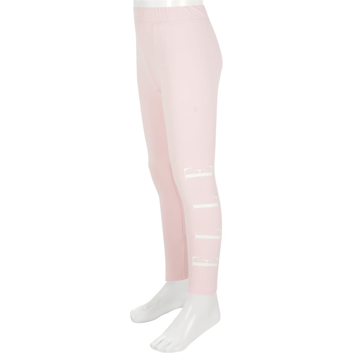 Girls ELLE pink glitter logo leggings