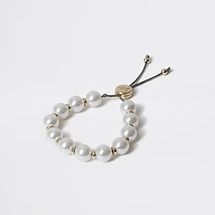 Girls faux pearl lariat bracelet