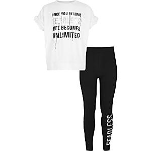 Outfit met verfraaid T-shirt  met 'fearless'-print voor meisjes