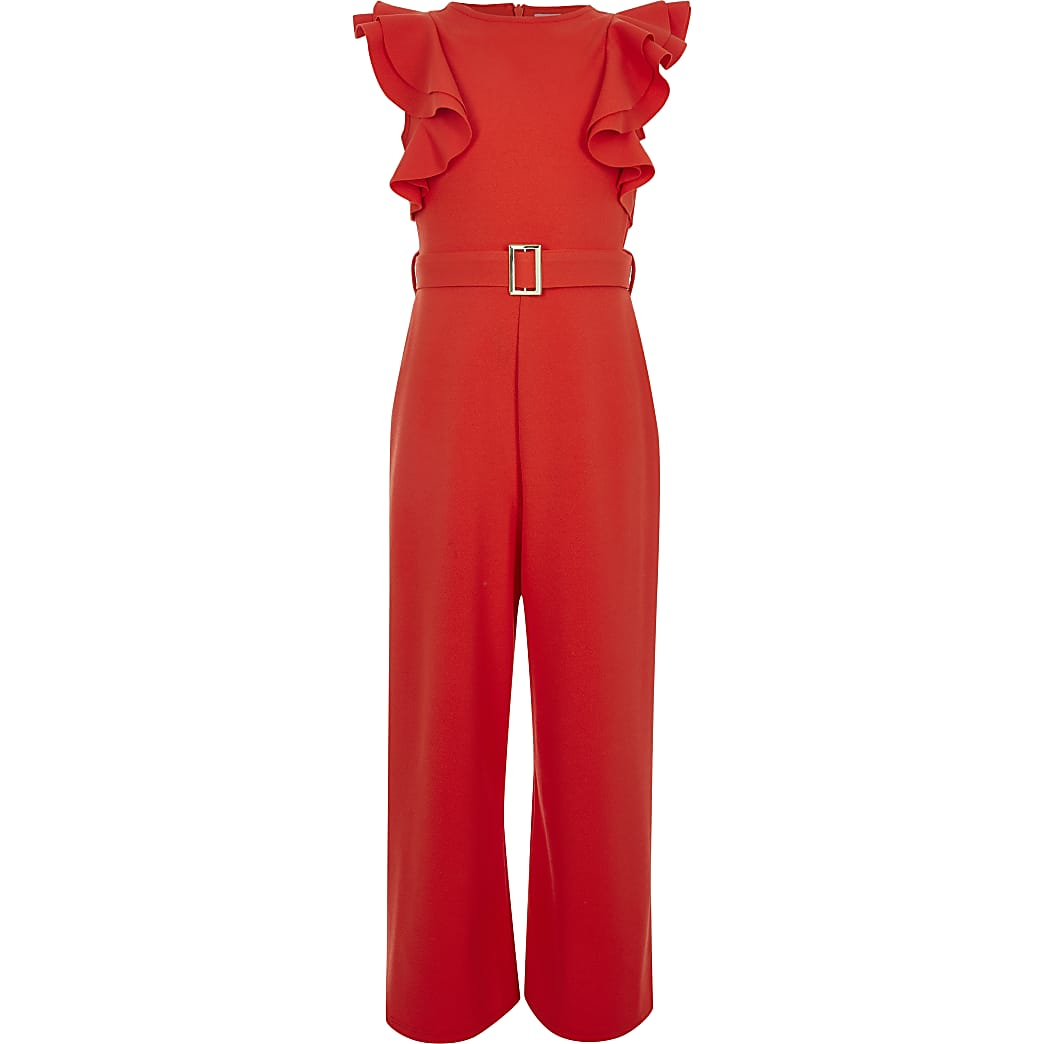Girls frill sleeve belted jumpsuit