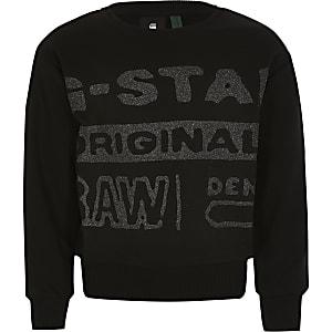 G-Star Raw – Schwarzes Glitzer-Sweatshirt für Mädchen