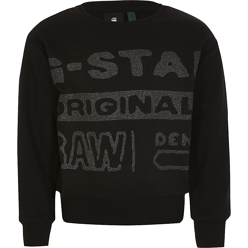 Girls G-Star Raw black glitter sweatshirt