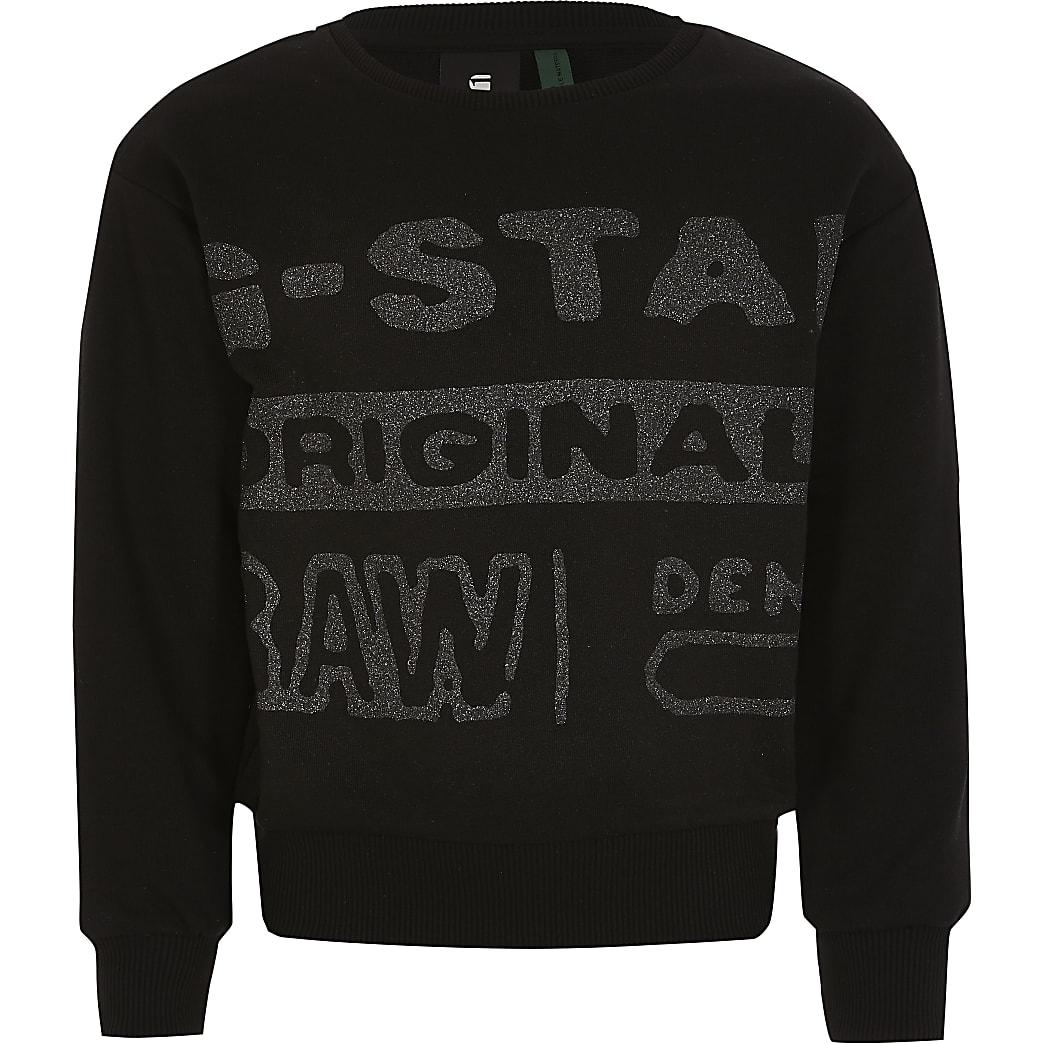 G-Star Raw - Zwarte glitter sweater voor meisjes