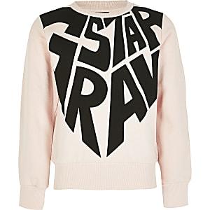 G-Star Raw - Roze sweater met print voor meisjes