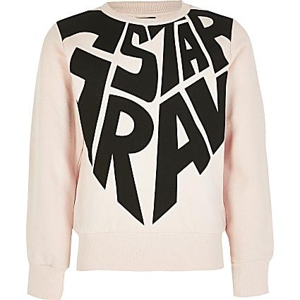 Girls G-Star Raw pink printed sweatshirt