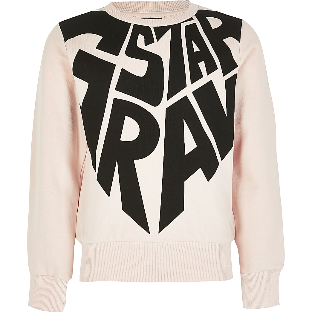 Girls G-Star Raw pink printed sweatshirt