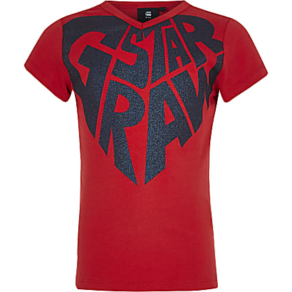 Girls G-Star Raw red printed t-shirt
