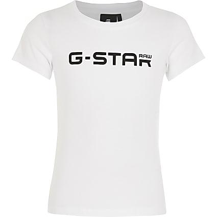 Girls G-Star Raw white logo print T-shirt