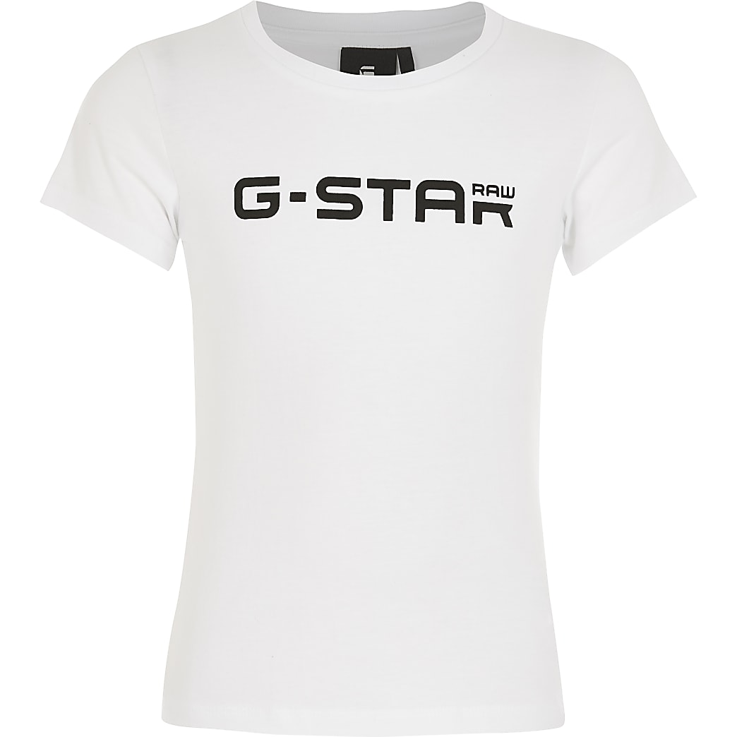 G-Star Raw- Wit T-shirt met logo print voor meisjes