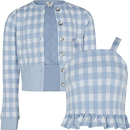 Girls gingham cardigan cami set