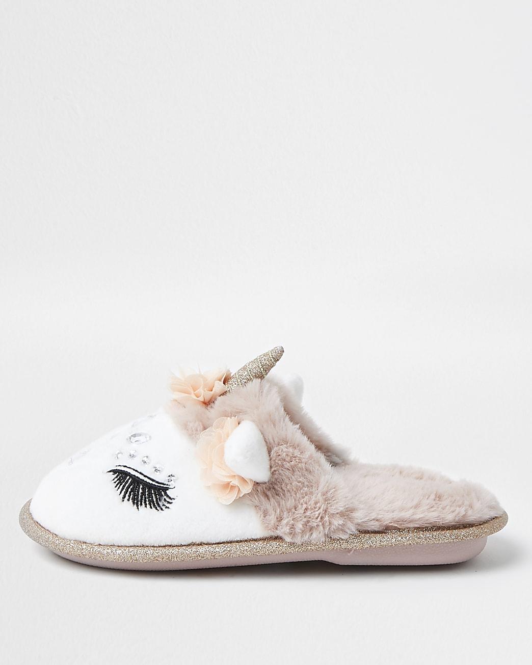 Girls glam unicorn slippers