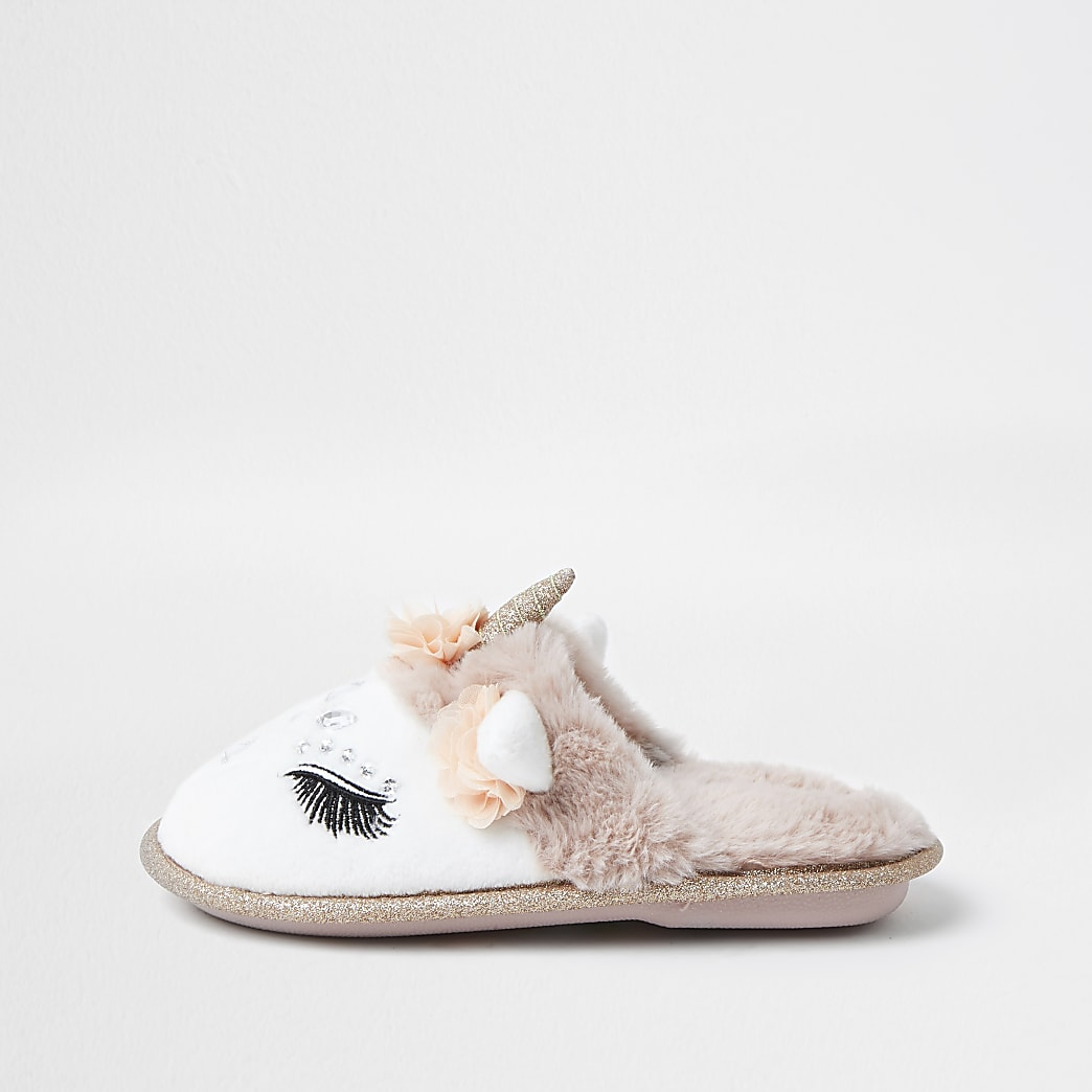 Girls glam unicorn slippers
