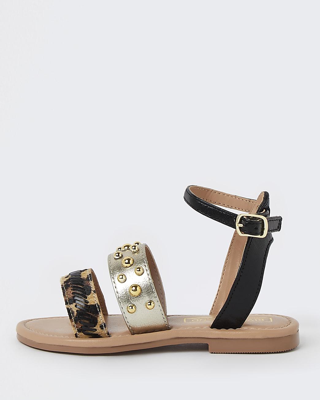 Girls gold animal print stud sandals