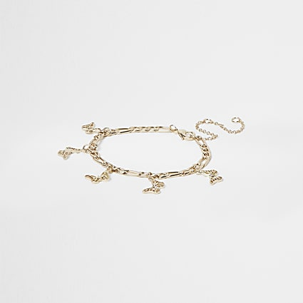 Girls gold butterfly chain anklet