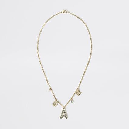 Girls gold colour A embellished necklace