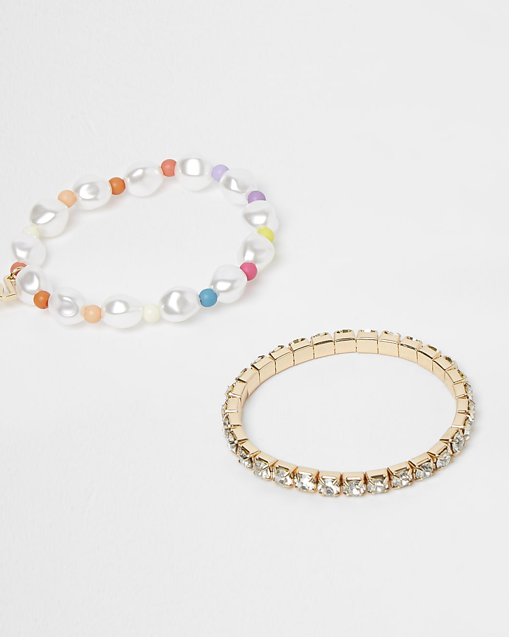 Girls gold colour bead and diamante bracelets
