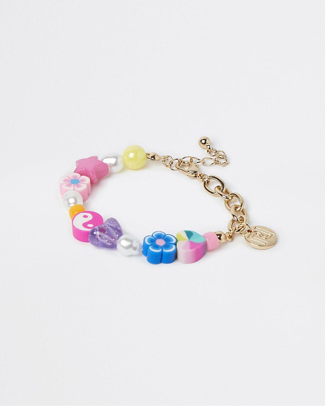 Girls gold colour bead chain bracelet