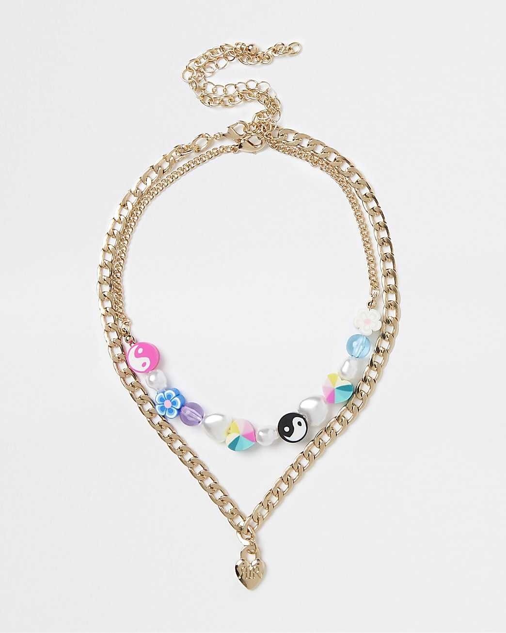 Girls gold colour bead chain layered necklace