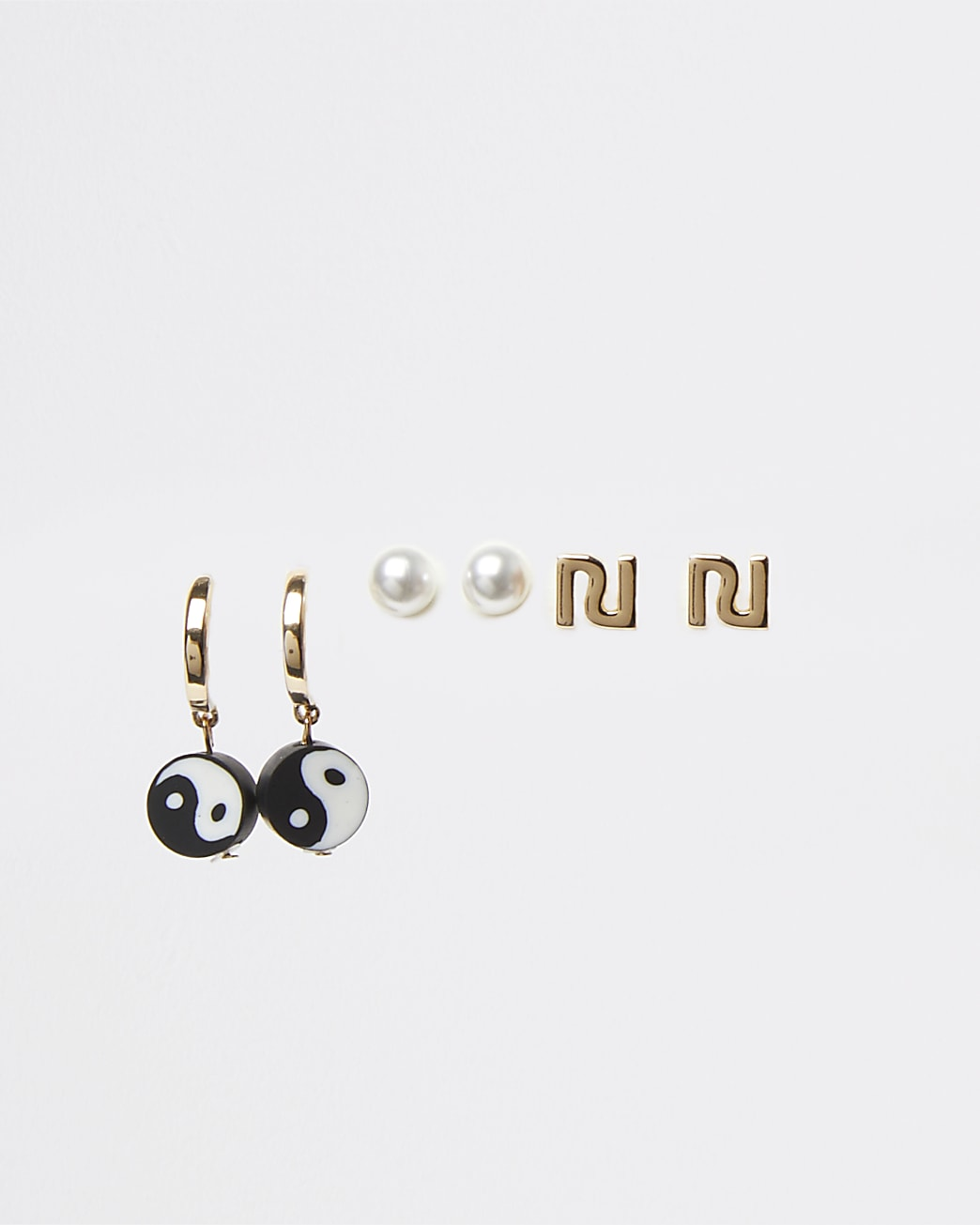 Girls gold colour bead earrings 3 pack