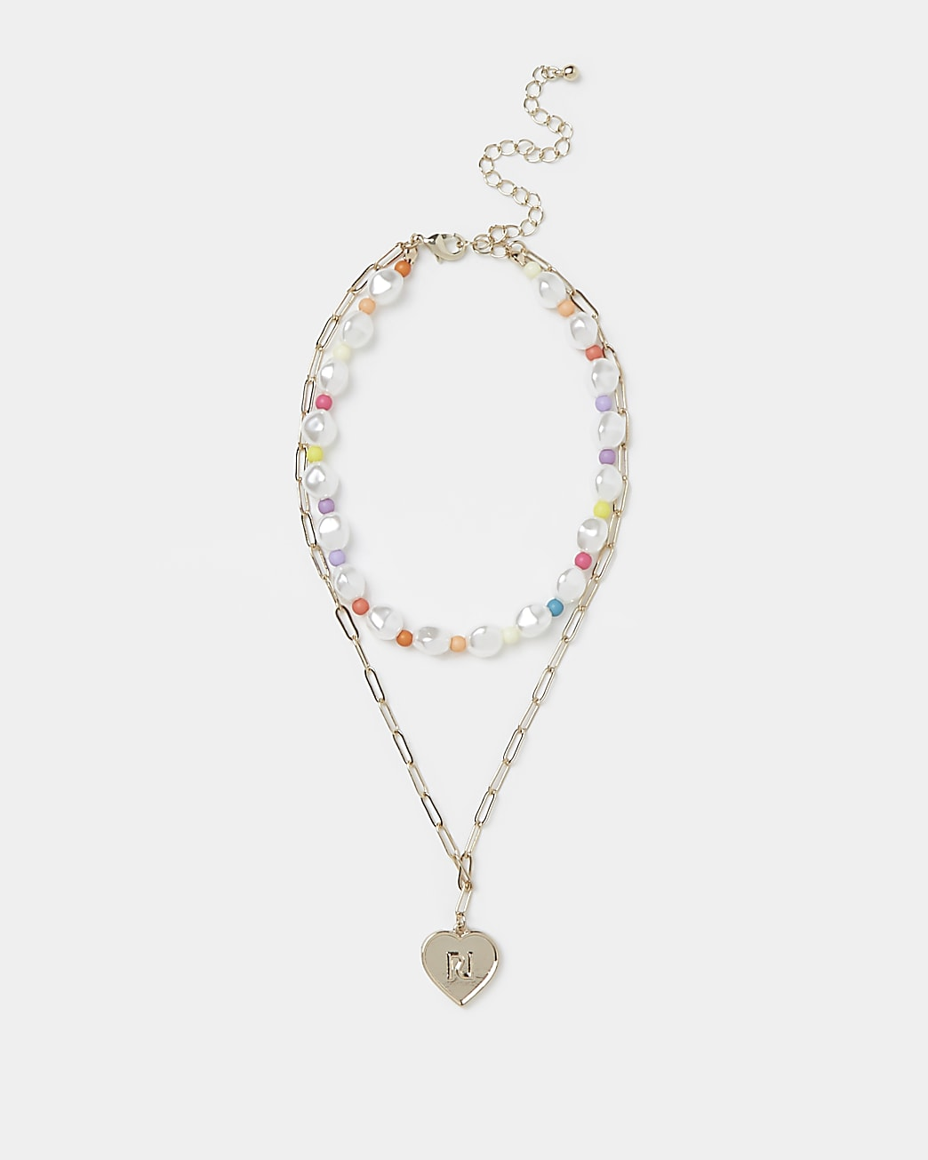Girls gold colour bead layered necklace