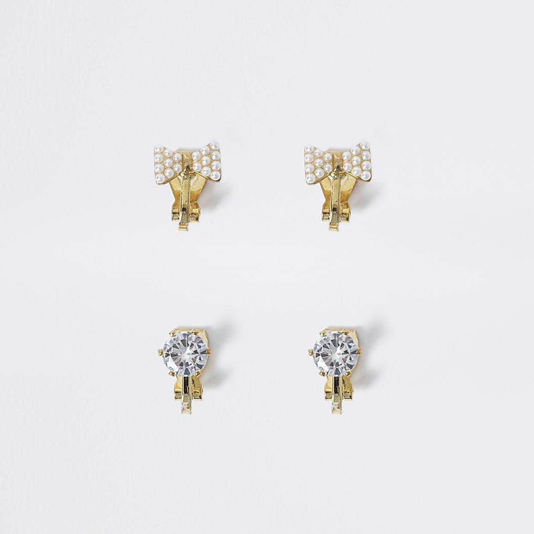 Girls gold colour clip on earrings 2 pack