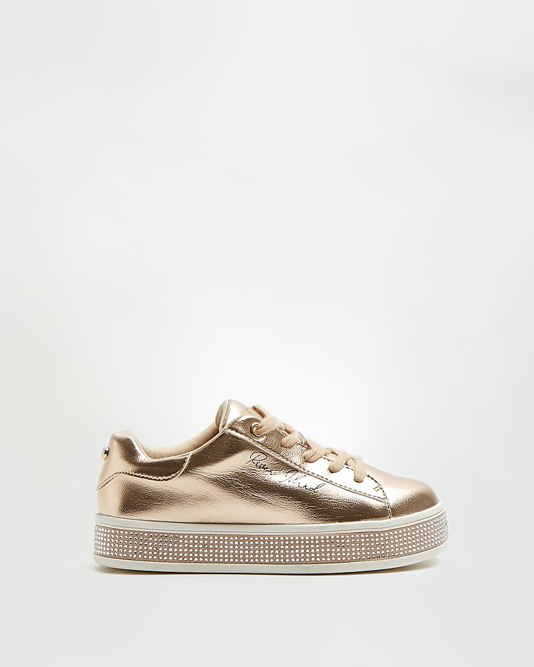 Girls gold colour diamante lace up trainers