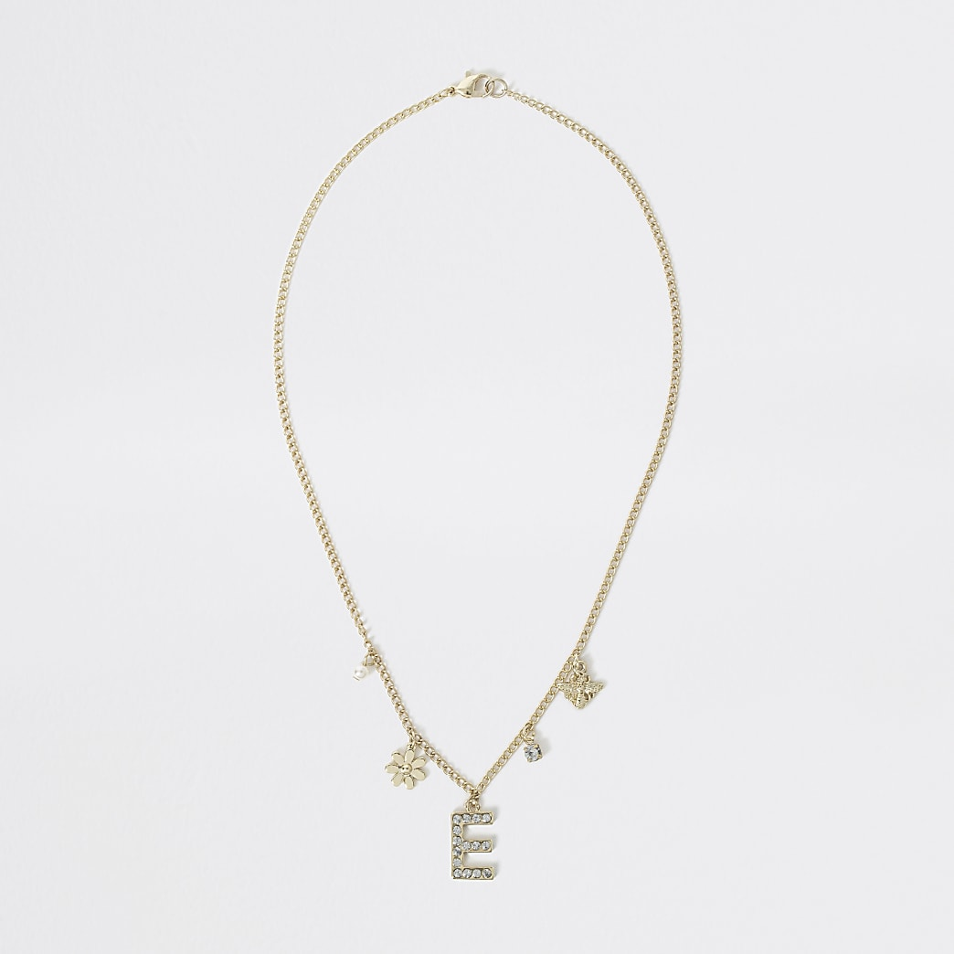 Girls gold colour E embellished necklace