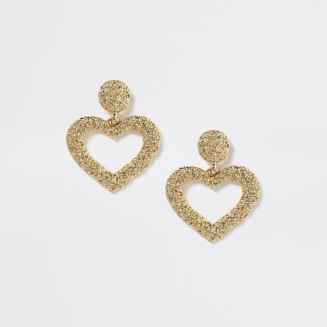 Girls gold colour embellished heart earrings