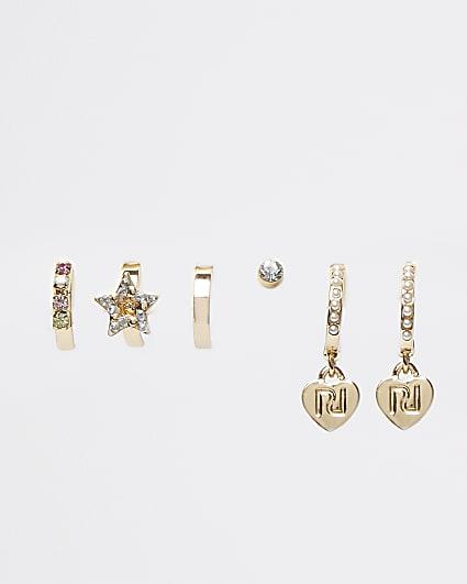 Girls gold colour heart hoop earrings 5 pack
