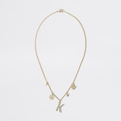Girls gold colour K embellished necklace