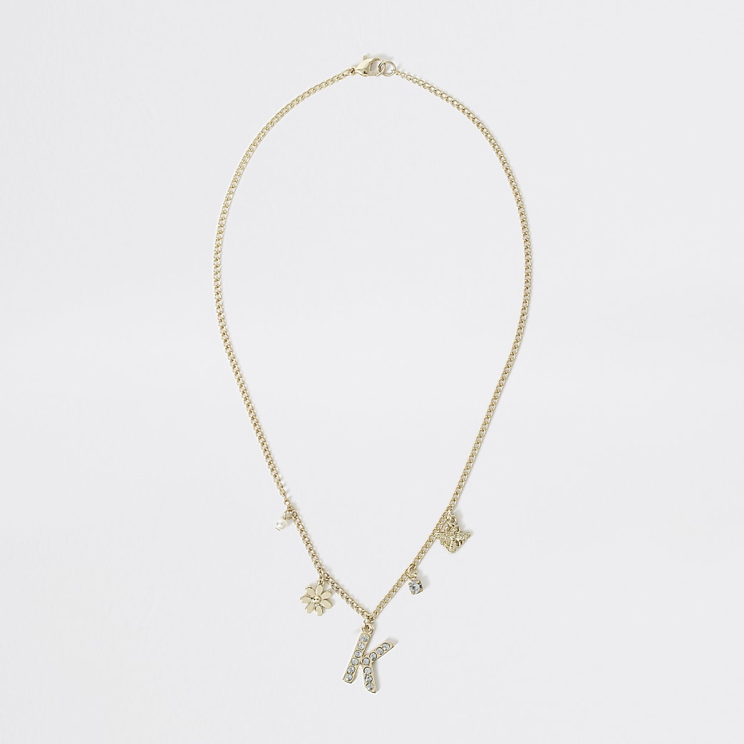 Girls gold colour K embellished necklace