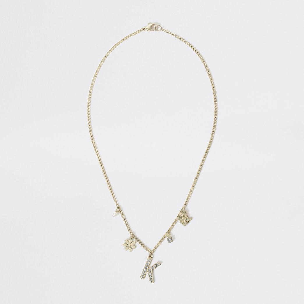 Goudkleurige met 'K' versierde ketting voor meisjes