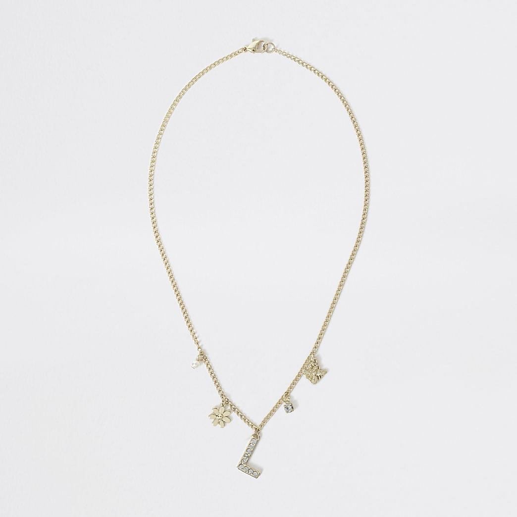 Goudkleurige met 'L' versierde ketting voor meisjes