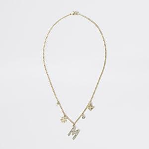 Goudkleurige met 'M' versierde ketting voor meisjes