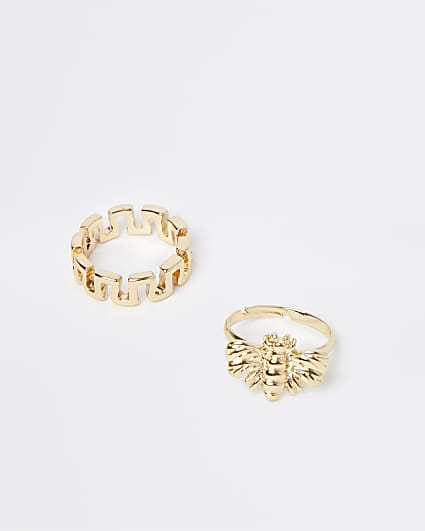 Girls gold colour RI bee rings 2 pack
