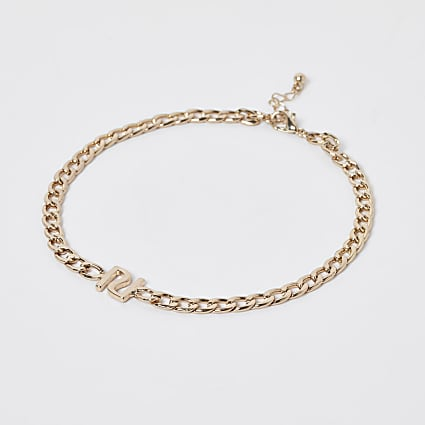 Girls gold colour RI chain choker necklace