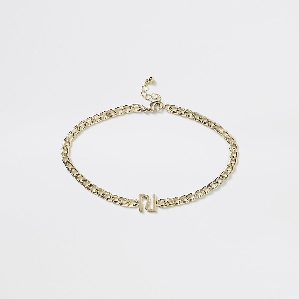 Girls gold colour RI chain choker necklace