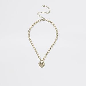 Goldfarbene RI-Halskette mit Herz-Anhänger für Mädchen