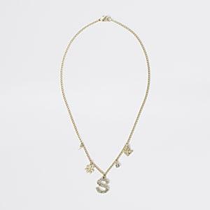 Goldfarbene Halskette mit S-Buchstabenverzierung für Mädchen