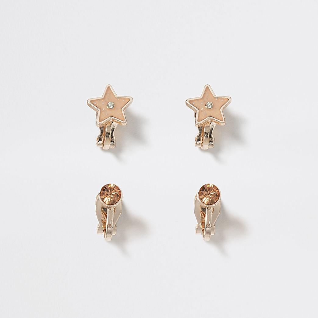 Girls gold colour star clip on earring 2 pack
