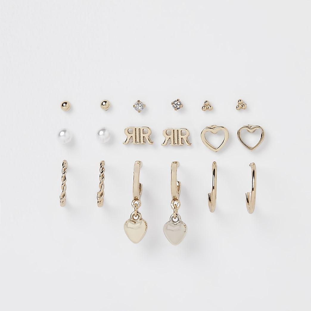 Girls gold colour stud & hoop earring set