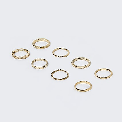 Girls gold colour textured rings 8 pack
