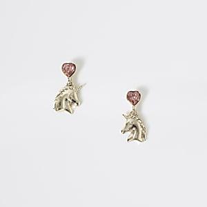 Goldfarbene Ohrringe mit EInhorn und Strass für Mädchen