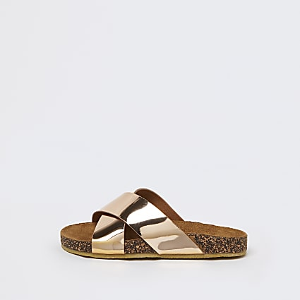 Girls gold cork sandals