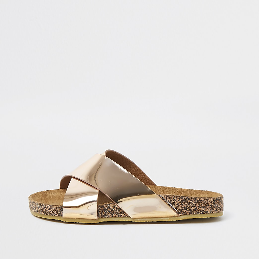 Girls gold cross strap sliders