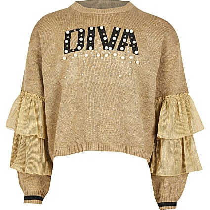 Girls gold 'Diva' frill sleeve jumper