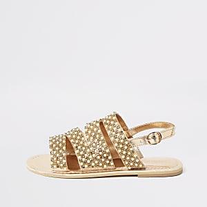 Sandales à brides ornées dorées pour fille