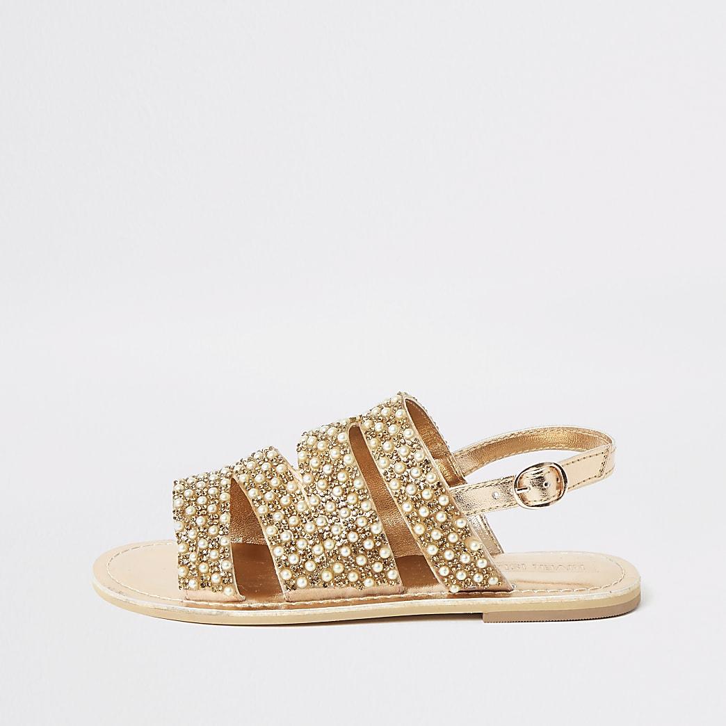 Girls gold embellished strappy sandals