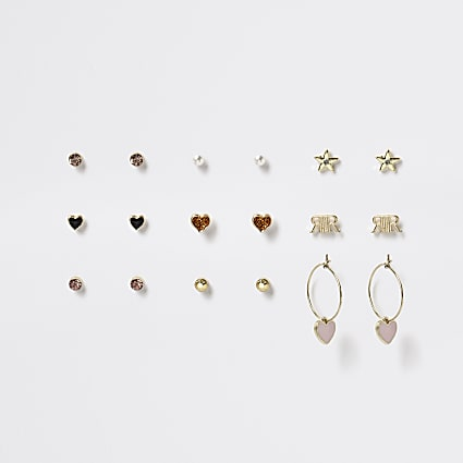 Girls gold heart logo earrings 9 pack